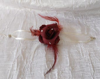 "Ribbon ""wedding procession"" Burgundy flower bracelet"