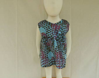 One size dress No. 19 blue multi color baby girl from 6 months to 2 years