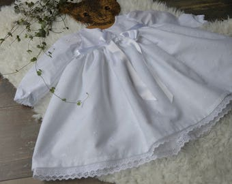 Embroidered christening gown English long sleeves