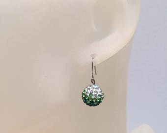 Green shamballa bead earrings