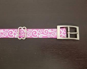 """1"""" Pink and White Swirls Dog Collar"""