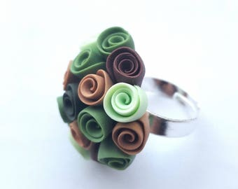 Bouquet ring made of polymer clay