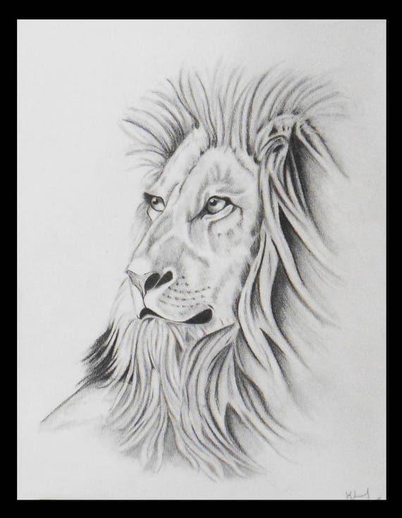 Articles similaires dessin d 39 une t te de lion au crayon sur etsy - Tete de lion dessin facile ...