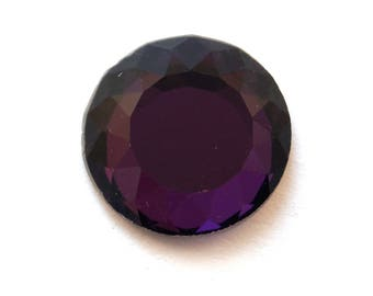 Purple faceted glass (24mm) cabochon