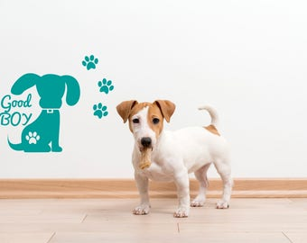 Dogs House Wall Decas-Good Boy Wall Decal-Doggie stickers-Pet Vinyl Decals Murals Bedroom-Dog Vinyl Wall Decal-Doog footprints wall decals