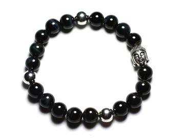 Gemstone - Hawkeye 8mm and Buddha bracelet