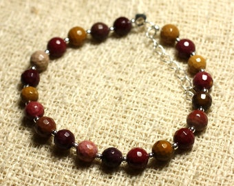 Bracelet 925 sterling silver and stone - 6mm faceted Moukaite Jasper