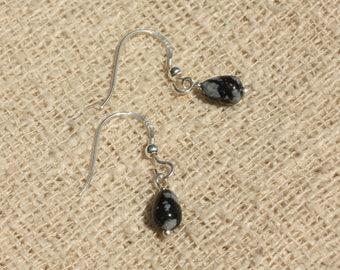 Earrings 925 Silver - snowflake Obsidian drops 7x5mm