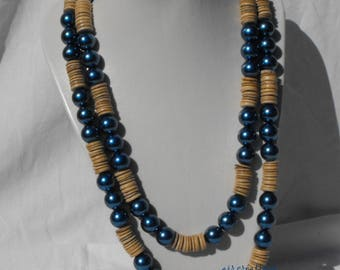 CL.0223 large necklace beads wood and resin