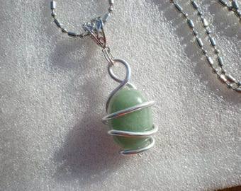 Aventurine necklace, Crystal healing gem stones on a silver ball chain