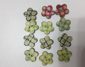 Set of 12 buttons wood