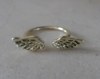 ring adjustable gold Angel Wings