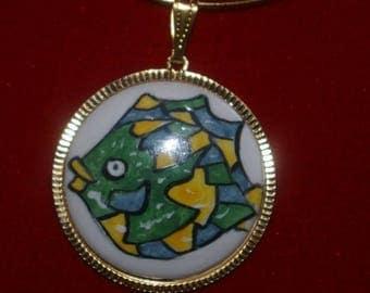Pendant Golden brass and porcelain handpainted fish print
