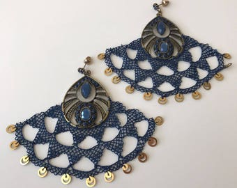 Needle Lace Earring-Navy
