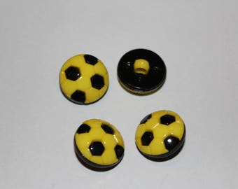 Fancy button patterned yellow football kids