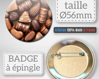 Badge chocolate confectionery sugar candy idea gift 56 mm