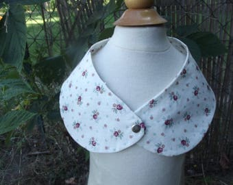 """collar """"Peter Pan"""" girl in white cotton and flower pattern"""