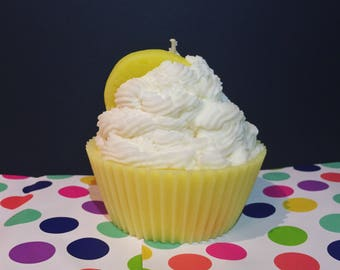 Jumbo Lemon Cupcake Candle
