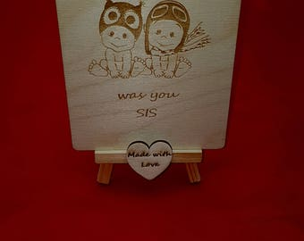 Sister birthday greeting card Wooden greeting card, card for sister, from brother to sister greeting card, wooden card