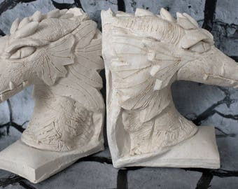 Plaster bookends dragon painting