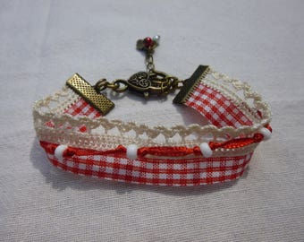Gingham red and white lace bracelet