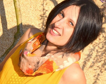 Woman Snood scarf tube, viscose scarf beige orange and Brown