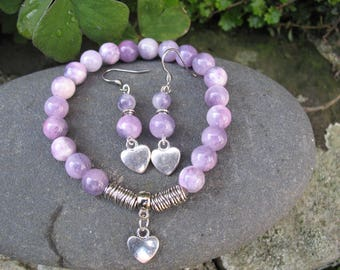 Set bracelet and earrings in purple agate and heart charm