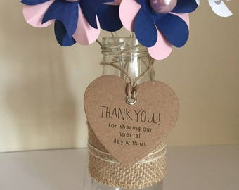 50 Handmade Thank You For Sharing Our Special Day With Us Brown Kraft Card Heart Wedding Tags with Eyelet & Twine