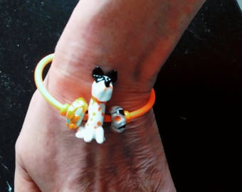 Bracelet - animal - original design - dog - neon orange cord