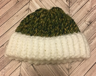 Knitted Army Green Newborn Baby Hat