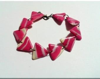 Bracelet multi triangles striped pink, White Pearl and vanilla