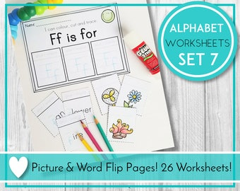 Alphabet Worksheets, Letter Flip Pages, ABC Printables, Preschool & Kindergarten Learning, Teaching Education Resource, Kids Activities