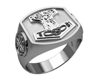 Men's Ring Thor's Hammer Sterling Silver 925 Mjolnir Viking SKU30342
