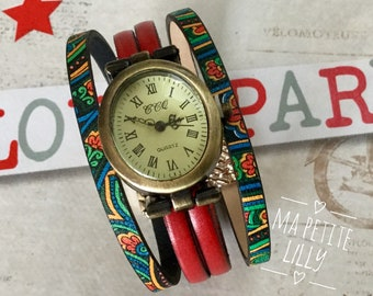 Ladies watch. CUT. M. Oval Watch Metal Bronze Cuff Bracelet Red Leather and Ethnic Multicolor