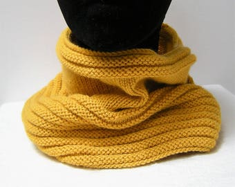 Snood for women, mustard yellow made of knit, gift for her, gift for teenager
