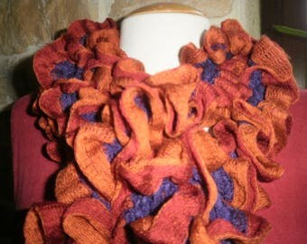 Burgundy, copper and purple ruffled knit Ribbon scarf