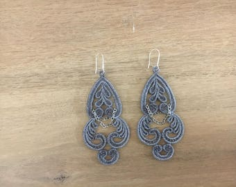 Lace and pendant earrings