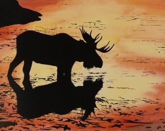 Watercolor Moose Print