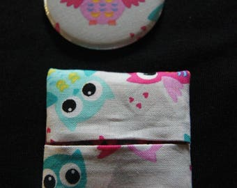 Owls pattern Pocket mirror / owls and matching wallet