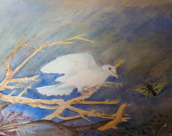Watercolor with passe partout, in shades of blue and white, showing the Jean De La Fontaine fable: the Dove and the Ant
