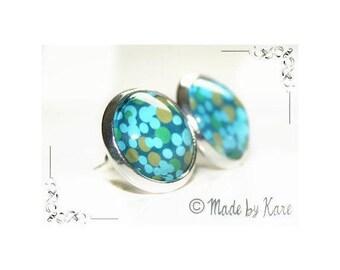 Bokehs dots romantic Vintage Cyan chips Cabochon earrings