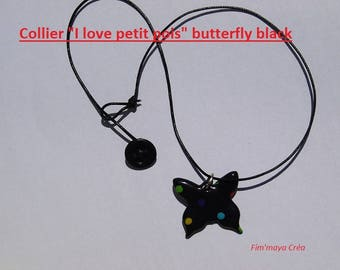 Necklace black Butterfly with multicolored dots
