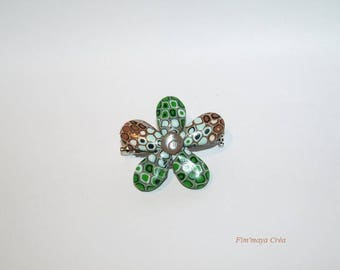 Ethnic green and Brown flower brooch
