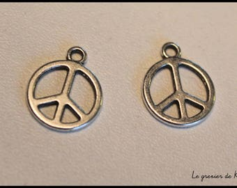 x 1 charm Peace and Love peace Hippie Woodstock - silver