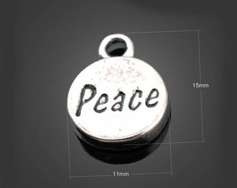 30pcs 11*15mm Antique Silver Peace Charms Alloy Pendants Setting Jewelry Metal Findings Handmade Supplies Wholesale YZ-YP2809