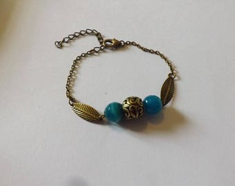 Blue dyed agate bracelet and metal bead, leaf charm