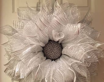 Silver and White Deco Mesh Flower Wreath