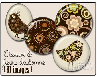 Birds and Flowers Printable Images Digital Collage Sheet for Jewelry Making - Digital collage sheets