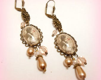 """Misty rose"" cabochon earrings"