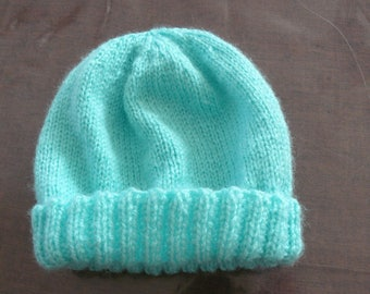 Hand knitted turquoise baby Hat